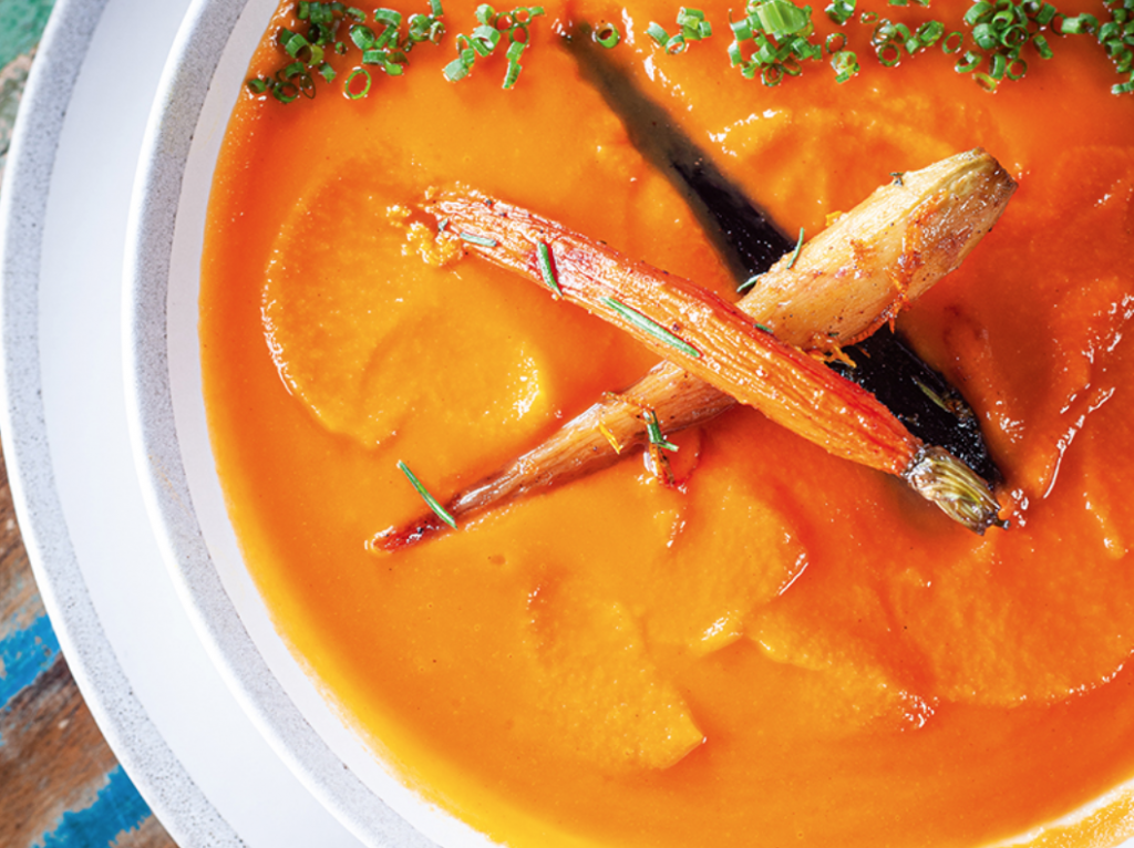 Wholesome recipes from My Pinewood Kitchen: A Southern Culinary Cure by Mee McCormick include this warming carrot ginger soup.