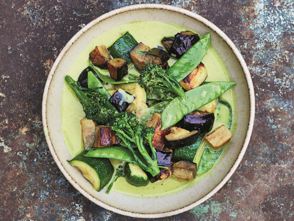Mood-boosting Thai green curry with eggplant, zucchini, and mange-tout features in East: 120 Vegan and Vegetarian Recipes from Bangalore to Beijing by Meera Sodha, and is packed with nutrients.
