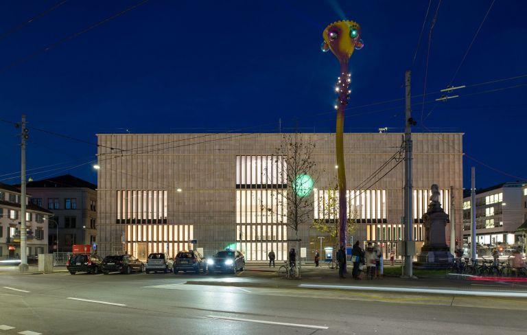 Kunsthaus Zürich: Erweiterungsbau von David Chipperfield und Projektion «Tastende Lichter» von Pipilotti Rist; Fotos © Juliet Haller, Amt für Städtebau, Zürich